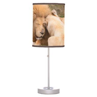 Portrait of Timbavati White lion male and female Table Lamps