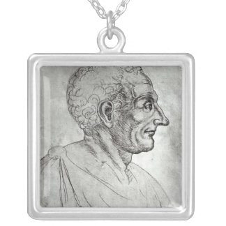 Portrait of Titus Livius known as Livy Silver Plated Necklace