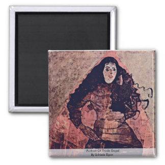Portrait Of Trude Engel By Schiele Egon Square Magnet