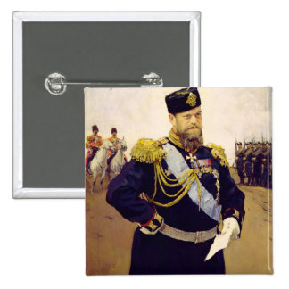 Portrait of Tsar Alexander III, 1900 15 Cm Square Badge
