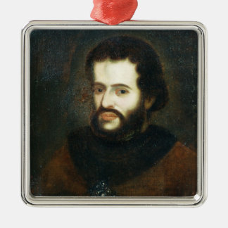 Portrait of Tsar Ivan the V Alexeyevich Silver-Colored Square Decoration