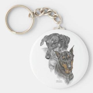 Portrait of Two Dobermans for keys Key Ring