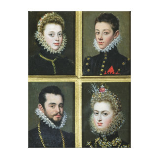 Portrait of Two Men and Two Women Canvas Print