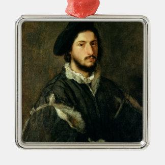 Portrait of Vincenzo Mosti (oil on canvas) Silver-Colored Square Decoration