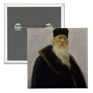 Portrait of Vladimir Vasil'evich Stasov  1900 15 Cm Square Badge