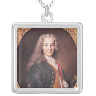Portrait of Voltaire  aged 23, 1728 Silver Plated Necklace
