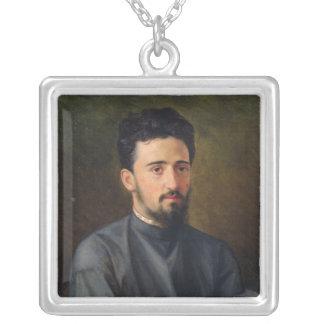 Portrait of Vsevolod M. Garshin, 1878 Silver Plated Necklace