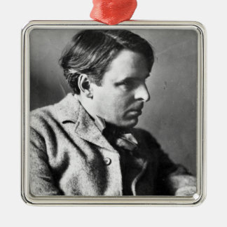 Portrait of W.B. Yeats Silver-Colored Square Decoration