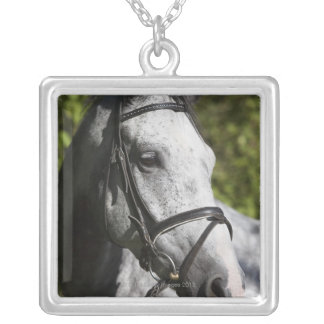 portrait of white horse 2 silver plated necklace