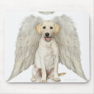 Portrait of white Labrador retriever wearing Mouse Pad