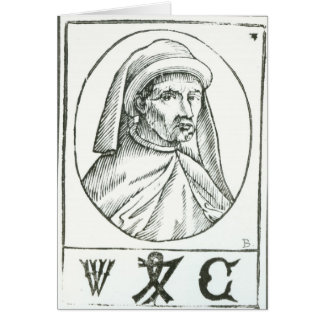 Portrait of William Caxton  and his Printer's Card