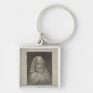 Portrait of William Caxton  and his Printer's Silver-Colored Square Key Ring