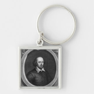 Portrait of William Shakespeare  1719 Silver-Colored Square Key Ring