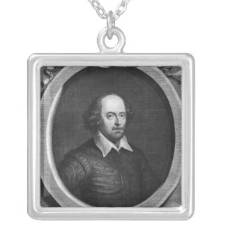 Portrait of William Shakespeare  1719 Silver Plated Necklace