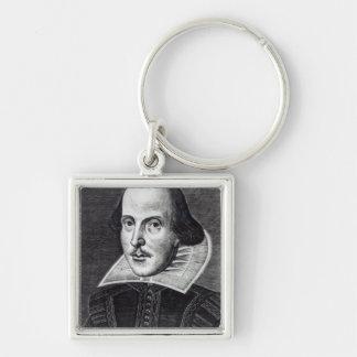 Portrait of William Shakespeare Silver-Colored Square Key Ring