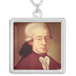Portrait of Wolfgang Amadeus Mozart  after 1770 Silver Plated Necklace