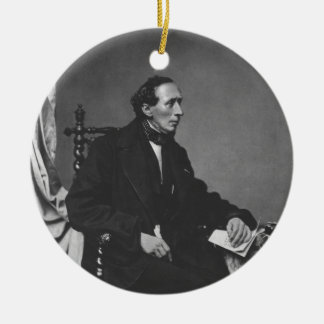 Portrait of Writer Hans Christian Andersen Double-Sided Ceramic Round Christmas Ornament