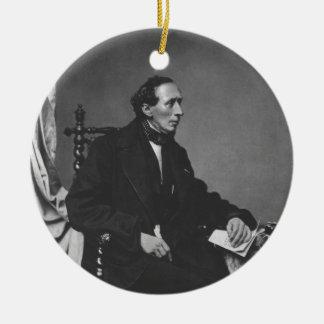 Portrait of Writer Hans Christian Andersen Round Ceramic Decoration