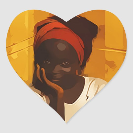 Portrait of Young african girl Heart Sticker