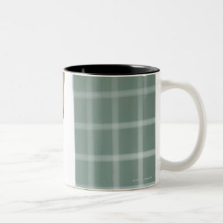 portrait of young female teacher in classroom Two-Tone coffee mug