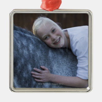 portrait of young girl on white horse christmas ornament
