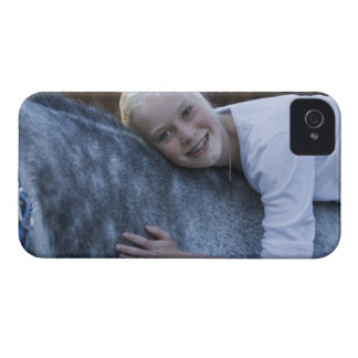 portrait of young girl on white horse iPhone 4 covers