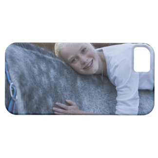 portrait of young girl on white horse iPhone 5 cases