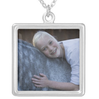 portrait of young girl on white horse square pendant necklace