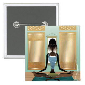 Portrait of young woman doing yoga 15 cm square badge
