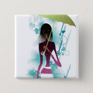 Portrait of young woman holding purse and umbrella 15 cm square badge