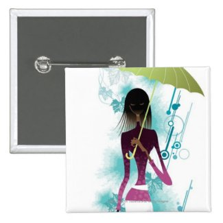Portrait of young woman holding purse and umbrella pinback buttons