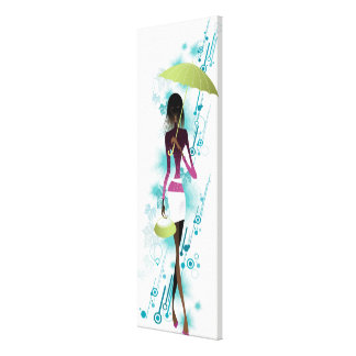 Portrait of young woman holding purse and umbrella canvas print