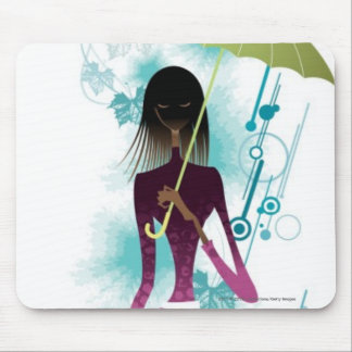 Portrait of young woman holding purse and umbrella mouse mat