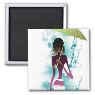 Portrait of young woman holding purse and umbrella square magnet