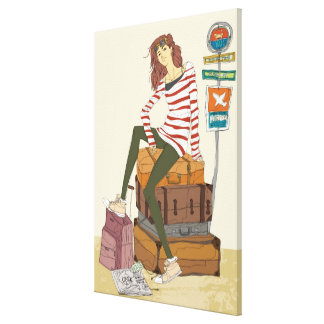Portrait of young woman sitting on suitcase canvas print