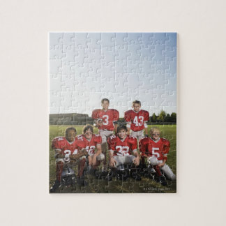 Portrait of youth football team on field jigsaw puzzle