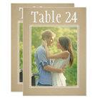 Portrait Photo Table Number Cards | Kraft Paper