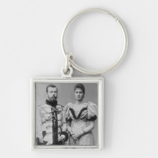 Portrait photograph of Tsar Nicholas II (1868-1918 Silver-Colored Square Key Ring