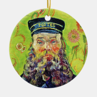 Portrait Postman Joseph Roulin Vincent van Gogh Round Ceramic Decoration