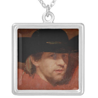 Portrait, presumed to be the artist, 1775 silver plated necklace