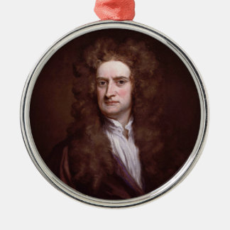Portrait Sir Isaac Newton by Sir Godfrey Kneller Silver-Colored Round Decoration