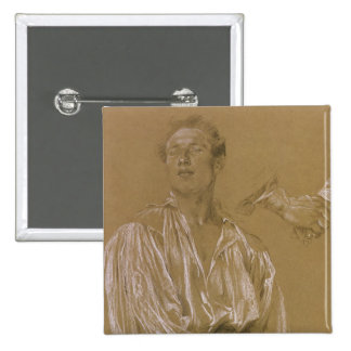 Portrait study of a man in a white shirt 15 cm square badge