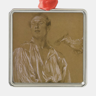 Portrait study of a man in a white shirt christmas ornament
