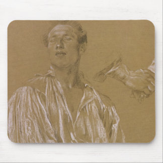 Portrait study of a man in a white shirt mouse pads