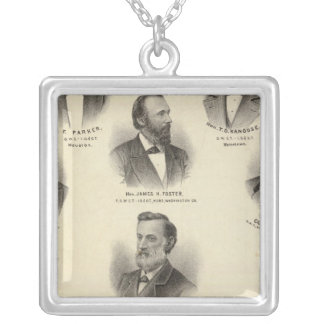 Portraits of BF Parker, TD Kanouse Silver Plated Necklace