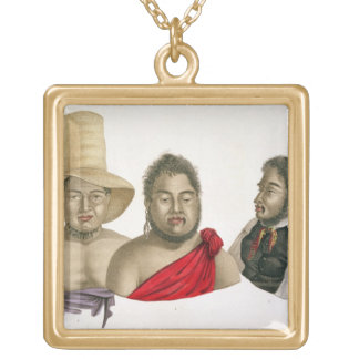 Portraits of chiefs of the Sandwich Islands, from Gold Plated Necklace