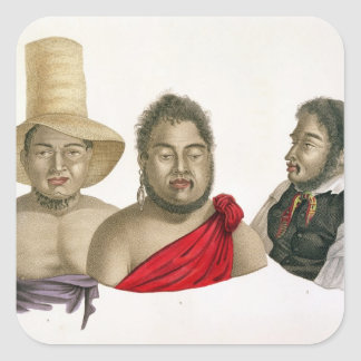 Portraits of chiefs of the Sandwich Islands, from Square Sticker