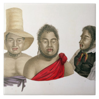 Portraits of chiefs of the Sandwich Islands, from Tile