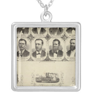 Portraits of Citizens of Cass County Silver Plated Necklace