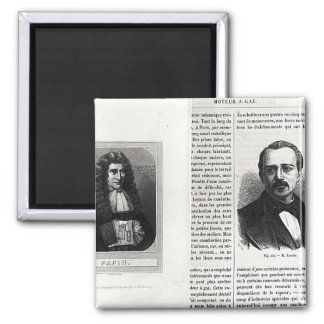 Portraits of Denis Papin  and Etienne Lenoir Square Magnet